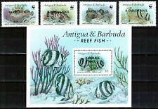 WWF Barbuda 1987, Mi.#953-956 + Bl 121, Sc.#857-865, fish, MNH! VERY SCARCE!!!