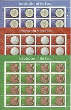 3 Sheets Ireland Eire stamps 2002 Introduction of Euro SG1506/1508, MNH