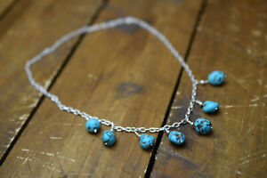 sterling silver turquoise gemstone necklace