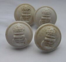 Royal Navy hospital white four  plastic bakelite   2ww   kings crown  buttons