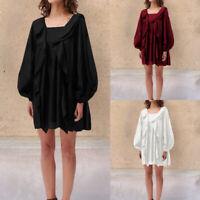 Women Long Sleeve Bohemian Smock Tunic Dress Ruffle Loose Beach Top Plus Size UK