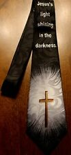 New Men's Christian Jesus's light shinning in the darkness On A Black Neck Tie!