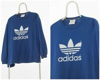 90s Vintage Mens ADIDAS ORIGINALS Sweatshirt Crew Neck Big Logo Blue Size S