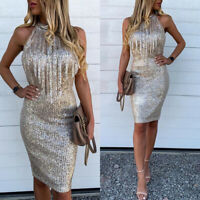 Women Halter Neck Sleeveless Sexy Sequin Tassles Bodycon Club Mini Evening Dress