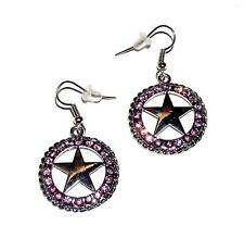 EARRINGS ST Wires Western Style Mauve Rhinestones Lone Star TEXAS CONCHO DANGLES
