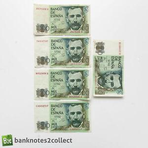 SPAIN: 5 x 1,000 Spanish Peseta Banknotes.