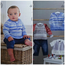 KNITTING PATTERN Baby 2 style Jumpers & Lace Trim Cardigan King Cole DK 4808