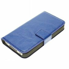 Blue Genuine Real Leather Flip Wallet Case Cover Stand for iPhone 5/5s/SE