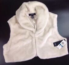 NEW ALFANI Fur Bolero Dress Jacket Size XL X Large Cream White Shrug Vest Coat