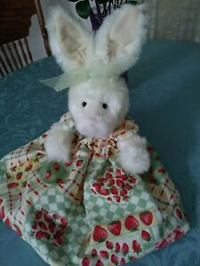 Vintage Russ Berrie Strawberry Bunny Rabbit Plush Stuffed Animal Doll Easter Toy