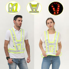 1X High Vis Vest Yellow Safety Work Rechargeable LED Reflective Jacket Flashing