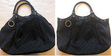 Gucci Black GG Monogram Sukey Handbag Canvas Leather Shoulder Hobo Scuffed Edges