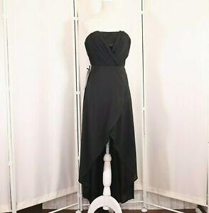New Bebe Black Gown Dress Size XXS Womens Strapless Hi Lo Hem Prom Wedding Nwt