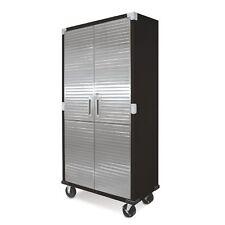 Metal Rolling Garage Tool File Storage Cabinet Stainless Steel Doors - Black