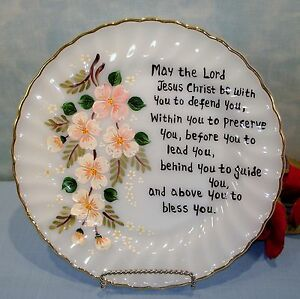 """Anchor Hocking Fire King Golden Shell Painted Floral and Prayer Dinner Plate 10"""""""