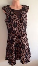 Jane Norman Black Lace Style Cut Out Skater Dress UK 12 NEW