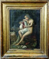 OLD MASTER NUDE WOMAN w CATS OIL ON COPPER PAINTING MOST INTRIGUING VERY EARLY