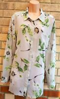 BETTY JACKSON BLACK GREY ORCHIDS GREEN FLORAL LONG SLEEVE BLOUSE T SHIRT TOP 18