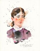 Original Aquarell Bild Skizze Portrait Watercolour Sketch Female Art Painting 32