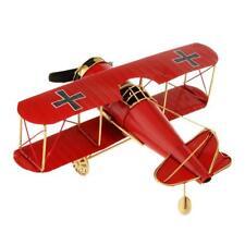 Red Baron Tin Metal WW1 German Bi-Plane Aircraft Aeroplane Model 27x31cm