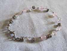 "Pink & Clear Glass & Silver Tone Metal Beads on Wire Bracelet - 7.5"" long"