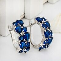 2.5ct Pear Cut Blue Sapphire Vintage Wedding Hoop Earrings 14k White Gold Finish