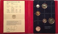 Mint Set Netherlands 1986 Coins 5 Coins Plus Silver Year Medallion In Book
