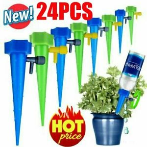 4-24X Plant Water Funnel Self Watering Spikes Slow Release Control Valve Switch@