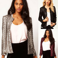 Fashion Women SEQUINS Slim Blazer Jacket Evening Party Short Coats Outwear Tops