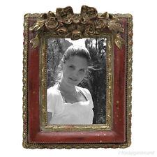 Bilderrahmen Fotorahmen Rechteckig Rahmen Rot Gold Deko Antik Stil Holz Vintage