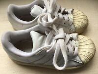 ADIDAS SUPERSTAR Sz 11.5 White LEATHER SNEAKERS Toddler Laces shoes girls boys