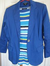 Nue Options Career Suit Sz 10 12 Petite Womens Blue Pants Blazer Jacket Top