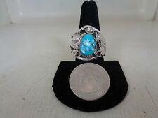 Wolf Turquoise Ring By Running Bear .925 Sterling  Silver Size 9.5 - RB