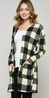 new BEESON RIVER boutique BUFFALO PLAID CARDIGAN sweater jacket BLK/IVORY SM-3X