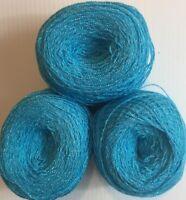 Lace yarn Crystal Color 110.Acrylic/Rayon. 900 yards per ball. 1 lot of 3 balls.