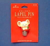 Hallmark PIN Christmas Vintage MOUSE SEWING THIMBLE White Holiday Brooch NEW