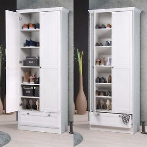 Mehrzweckschrank Landwood Schuhschrank Schrank in weiß mit 2 Türen Landhausstil