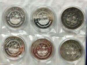 Liberia coins 2001 2002 lot 6 pieces Silver and Nickel