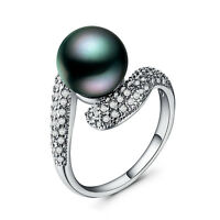 Women 925 Silver Jewelry Round Cut Black Pearl Fashion Wedding Ring Size 6-10