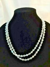 Vintage 46 Inch AB Crystal Faceted Bead Necklace Sterling Clasp Aurora Borealis