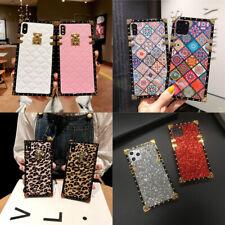 Fashion Retro Glitter Leather Square Case For Samsung S21 S20 S10 Note20 10 9 8