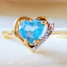 Ladies 10KP Plum Yellow Gold Heart Shape Blue Topaz w/ Diamond Ring Size 6