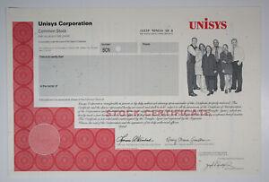 Unisys Corp., 1980s Odd Shares Specimen Stock Certificate, VF ABNC
