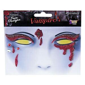 Blood Drip Glitter Sparkly Vampire Halloween Costume Face Sticker Jewel Make Up