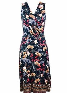 Warehouse Navy Blue Floral Dress, Size 10 Party Beach Holiday Stretchy Summer