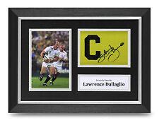 Lawrence Dallaglio Signed A4 Photo Framed Captains Armband Display England + COA