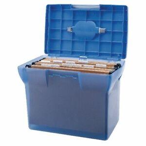 Plastic File Box - Blue + 5 A4 Suspension Files (Pierre Henry)