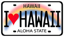 Car Window Bumper Sticker - Hawaiian Art Decal - I Heart Hawaii License Plate
