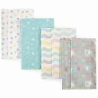 Luvable Friends Boy and Girl Flannel Burp Cloth, 4-Pack, Gray Elephant