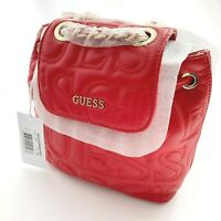 Guess Red Ginger Small Backpack Embossed Logo New with Tag QUILTED